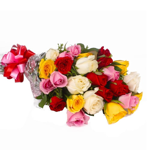 Blushing 12 Multicolor Rose Bouquet