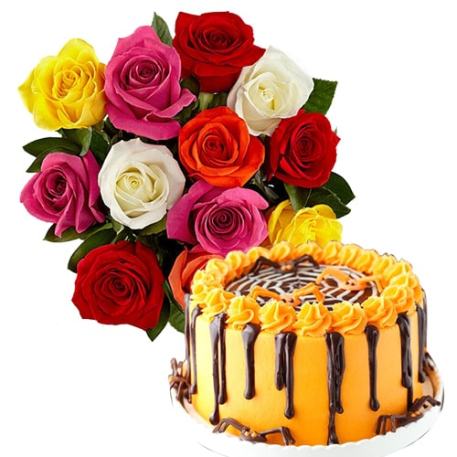 Delightful 12 Mix Roses Bouquet with Orange chocolate cake