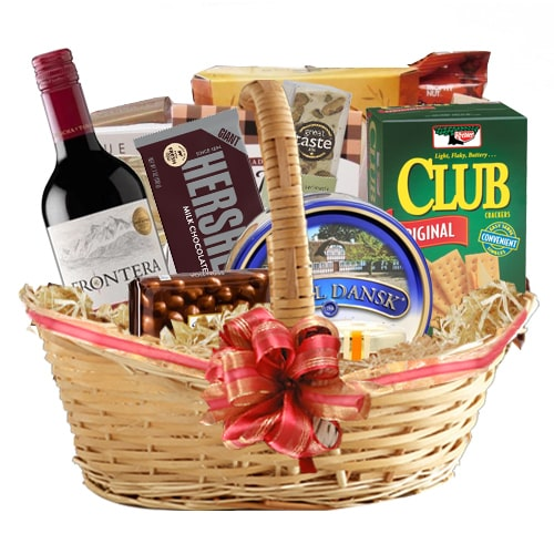 Radiant Gift Basket of Wine