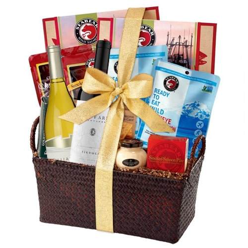 Happy Christmas Wine and Gourmet Hamper Basket