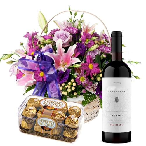 Beautiful Seasonal Flowers and Mouthwatering Ferrero Rocher with Red Wine