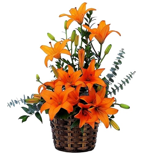 Oblong Orange Lilies Basket