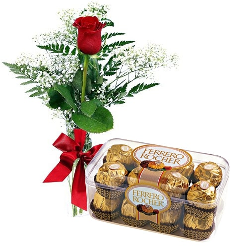 Distinctive Single Red Rose with Chocolates