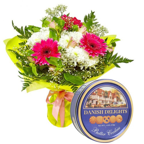 Romantic Fresh Mixed Flowers with Delectable Danish Cookies