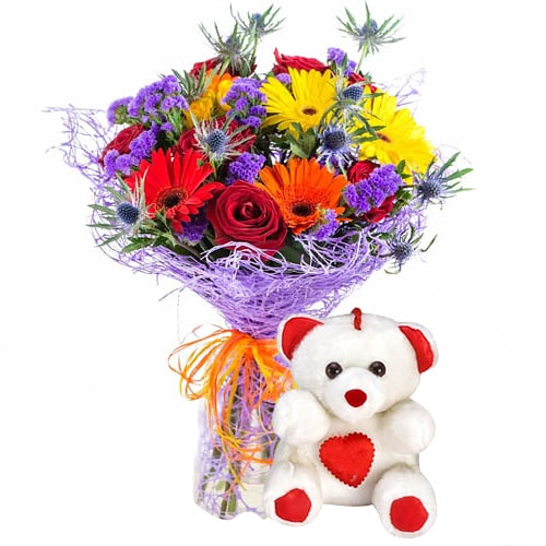 Mixed Flowers with Teddy