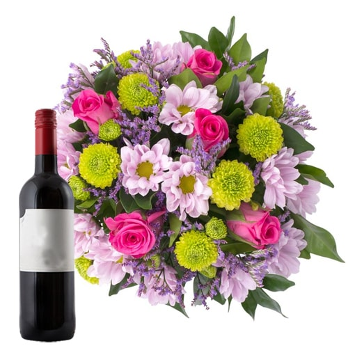 Flowering Mixed Flower Bouquet with French Wine Bottle