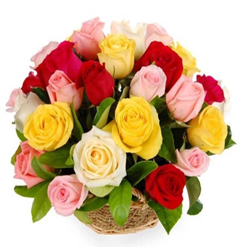 Fabulous Basket of 12 Mixed Roses
