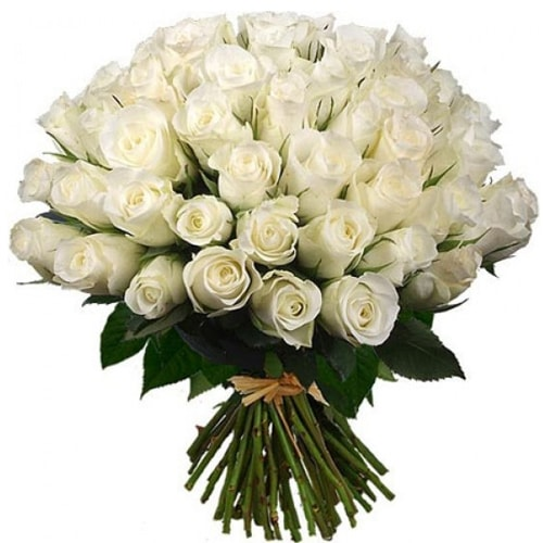 50 Fresh White Roses of Floral Arrangement