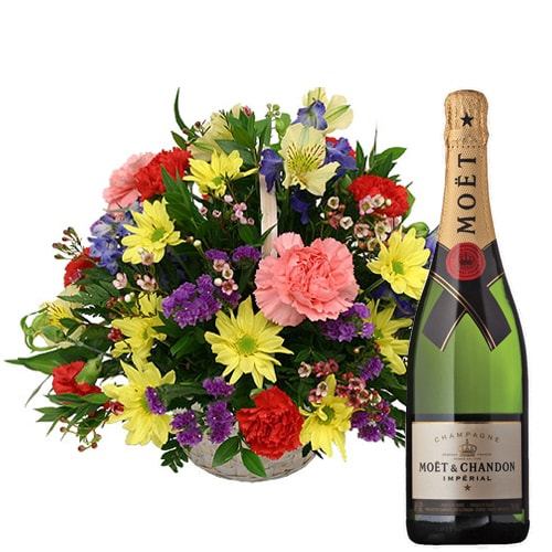 Dazzling Fresh Seasonal Flowers and a Bottle of Champagne